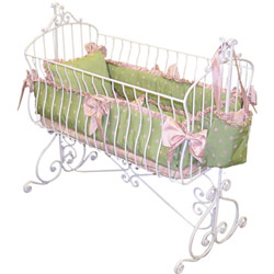 Pink and Green Polka Cradle Bedding
