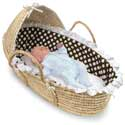 Natural Hooded Moses Basket with Brown Polka Dot Bedding