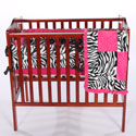 Minky Zebra Porta Crib Bedding Set